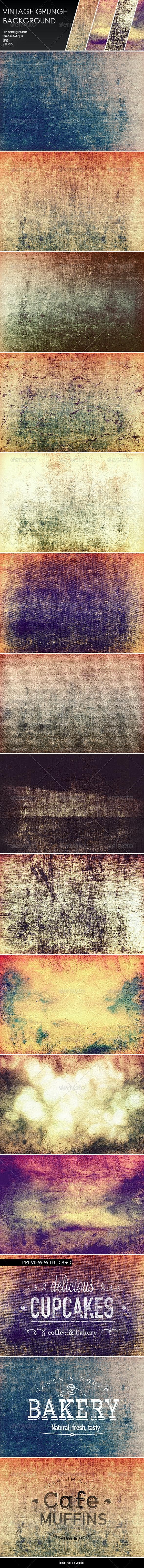 12 Vintage Grunge Backgrounds - Backgrounds Graphics