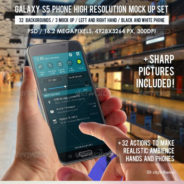 Galaxy S5 Phone High Resolution Mock Up Set