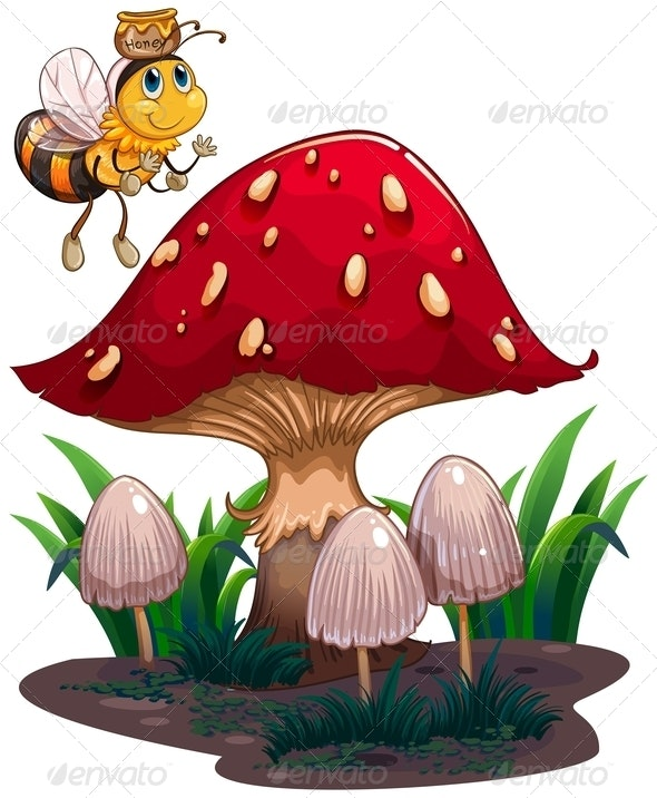 A bee with a honey flying near the red mushroom - Animals Characters