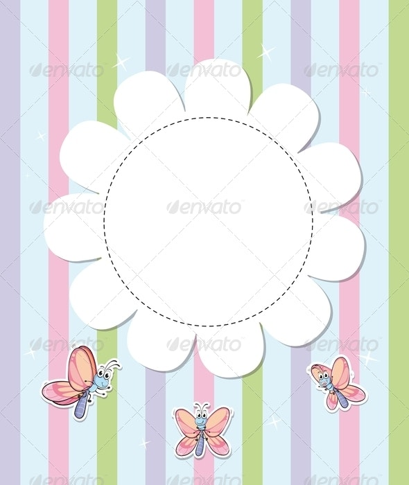 Stationery with three butterflies - Borders Decorative