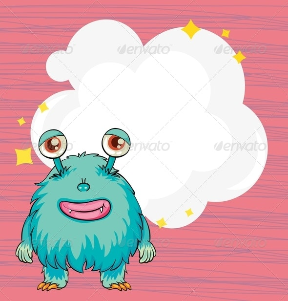 Stationery with a blue hairy monster - Borders Decorative