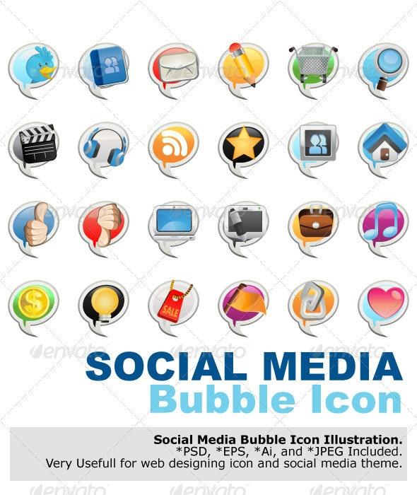 Social Media Bubble Icon - Media Technology