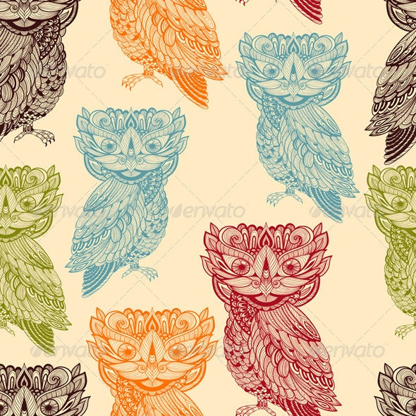 Vector Seamless Pattern with Bright  Owls - Patterns Decorative