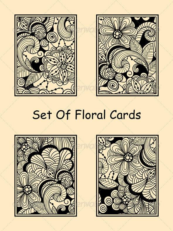 Vector Seamless Doodle Floral Cards - Decorative Vectors