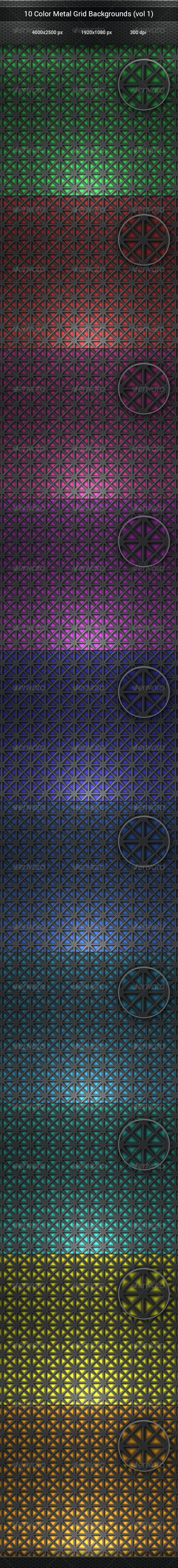 10 Color Metal Grid Backgrounds (vol 1) - Backgrounds Graphics