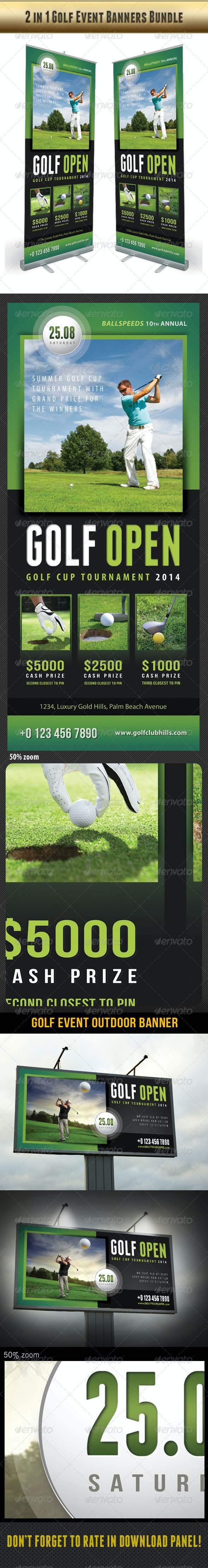 2 in 1 Golf Event Banners Bundle 02 - Signage Print Templates