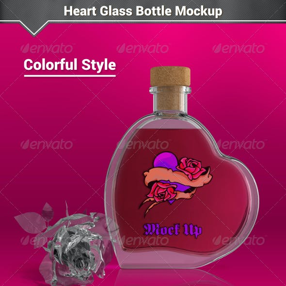 Heart Glass Bottle Mockup