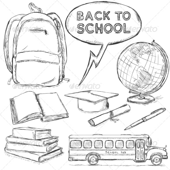 Vector Set of Sketch Education Objects - Miscellaneous Conceptual