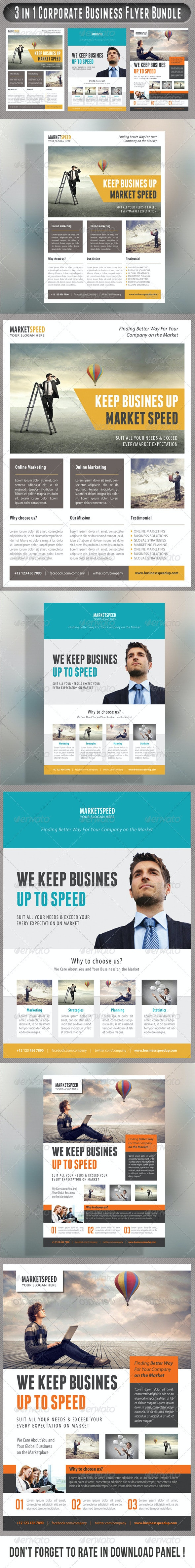 3 in 1 Corporate Flyers Bundle 21 - Corporate Flyers