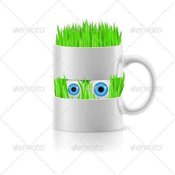 Cartoon Mug with Grass