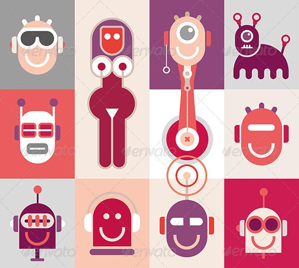 Robot Heads - Monsters Characters