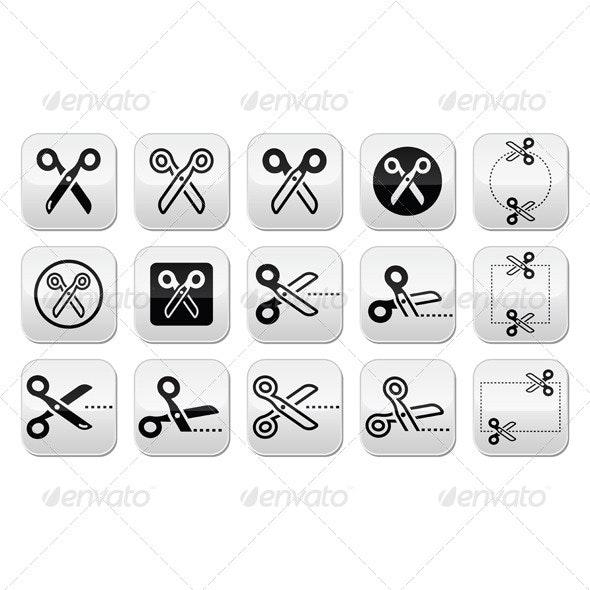 Scissors with Cut Lines Icons Set - Business Conceptual