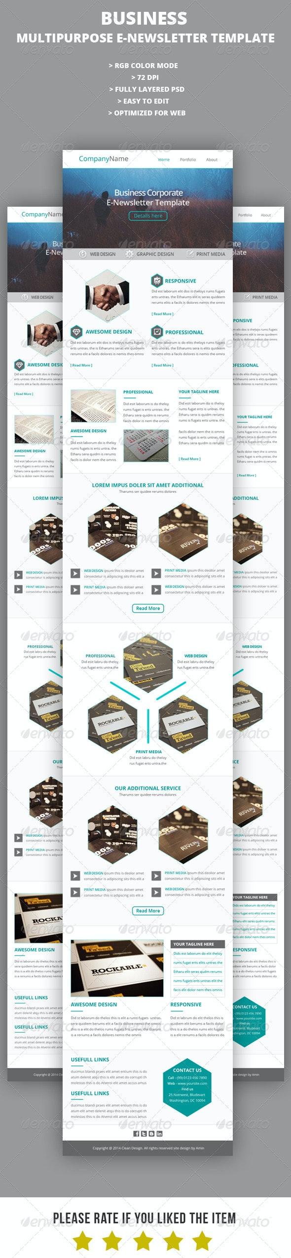 Business Multipurpose E-Newsletter Template V8 - E-newsletters Web Elements