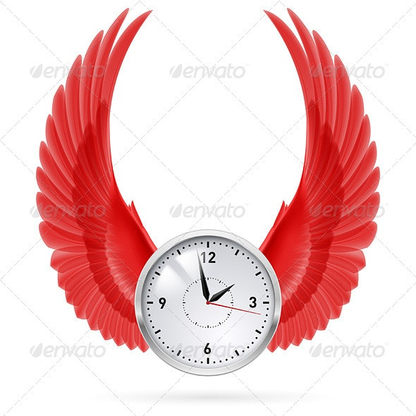Clock. Red Wings. - Retro Technology