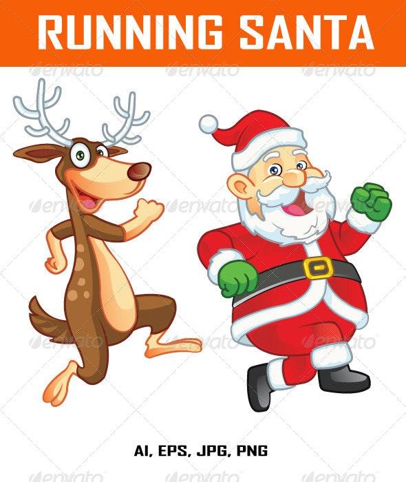 Running Santa and Reindeer  - Characters Vectors