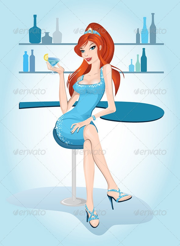 Girl in Bar with Glass - People Characters
