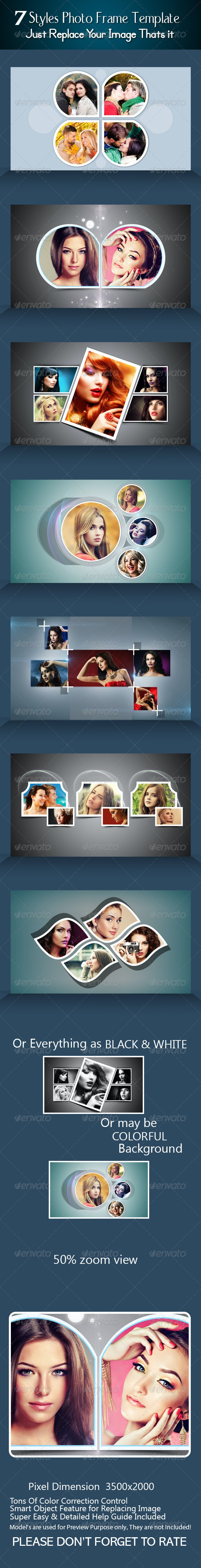 7 Styles Photo Frame Template - Photo Templates Graphics