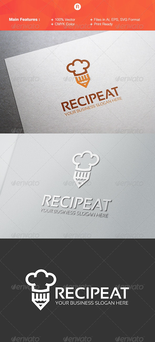 Recipeat Logo Template - Food Logo Templates