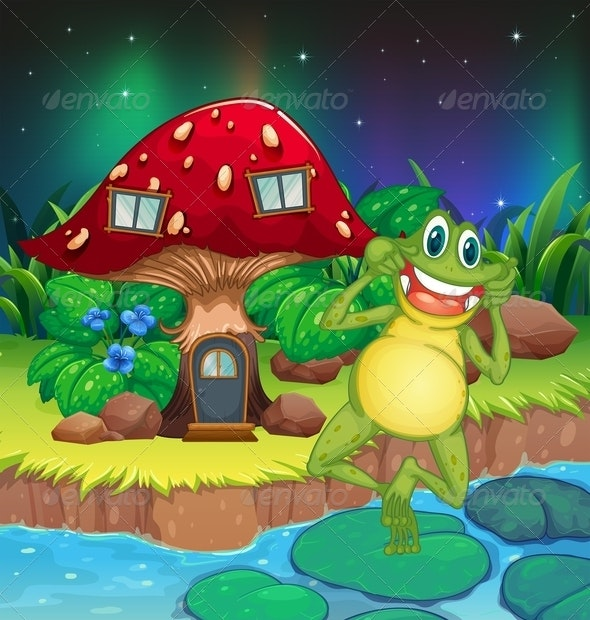 Frog Near Mushroom House - Animals Characters