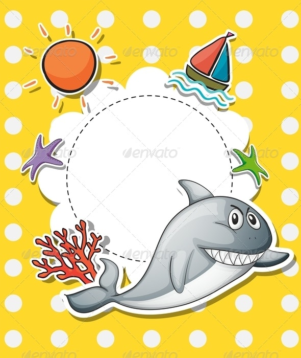 Stationery With Big Grey Shark - Borders Decorative