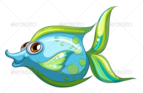 Blue Fish With Striped Tail - Animals Characters