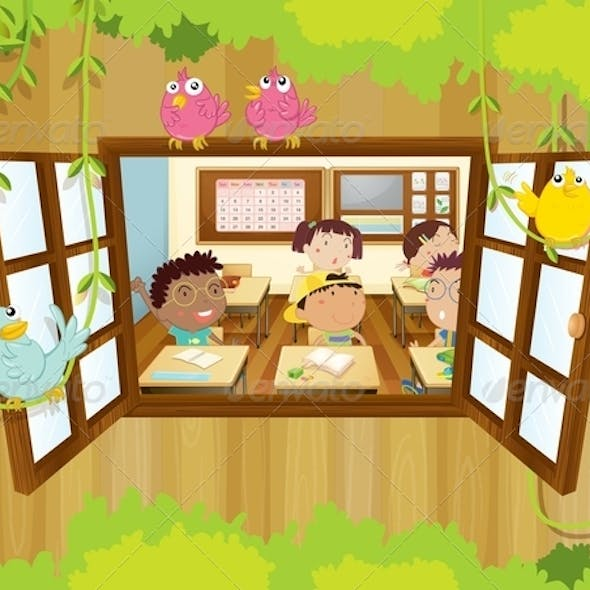 Students in Classroom With Birds at the Window