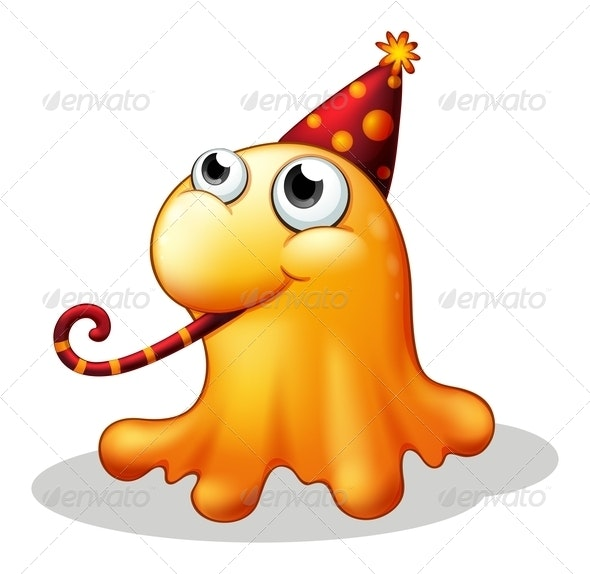 Monster Wearing a Party Hat - Monsters Characters