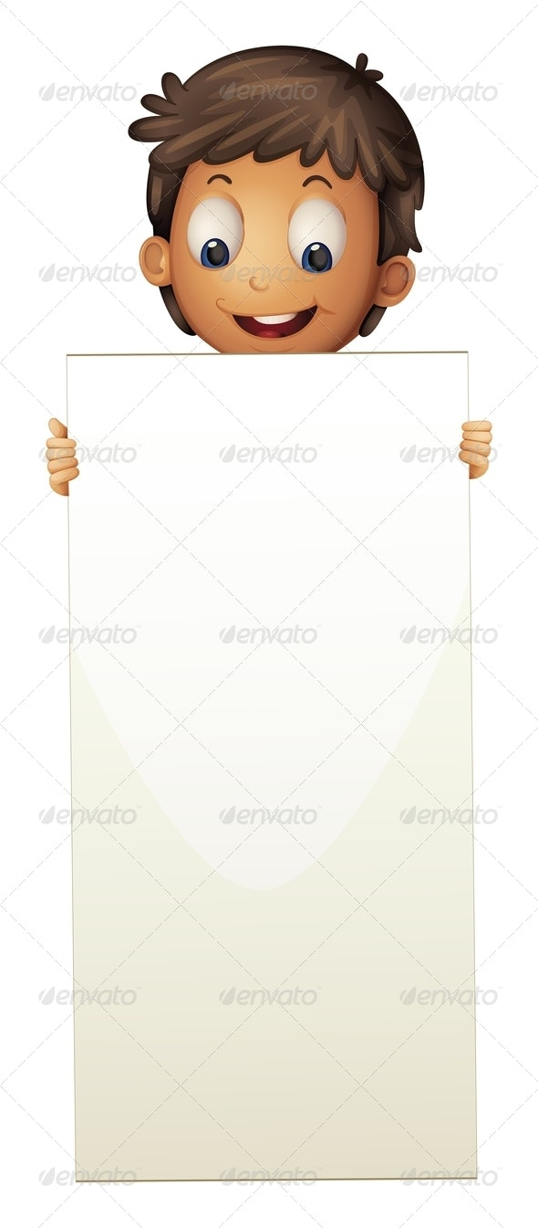 Boy Standing with Empty Sign - Borders Decorative