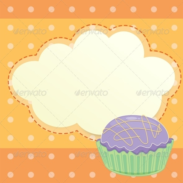 Stationery with Cupcake - Borders Decorative