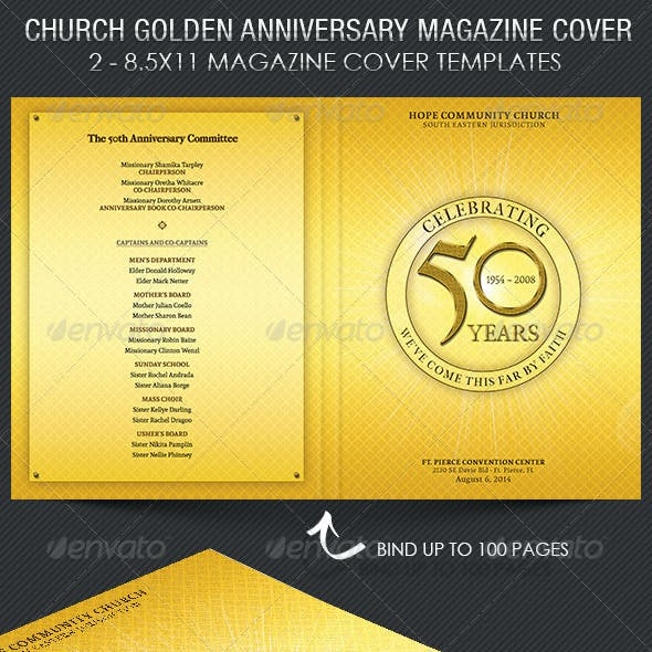Church Golden Anniversary Magazine Cover Template