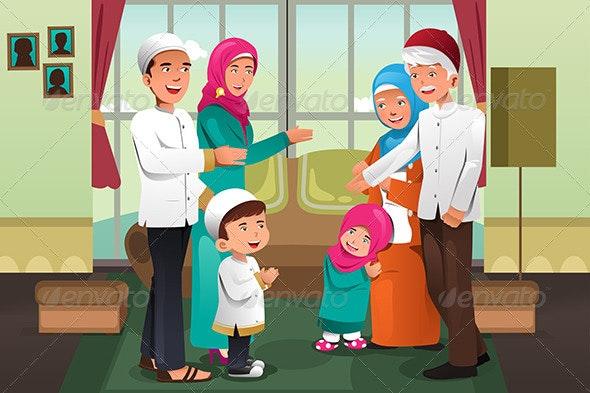 Family Celebrating Eid-Al-fitr - Religion Conceptual