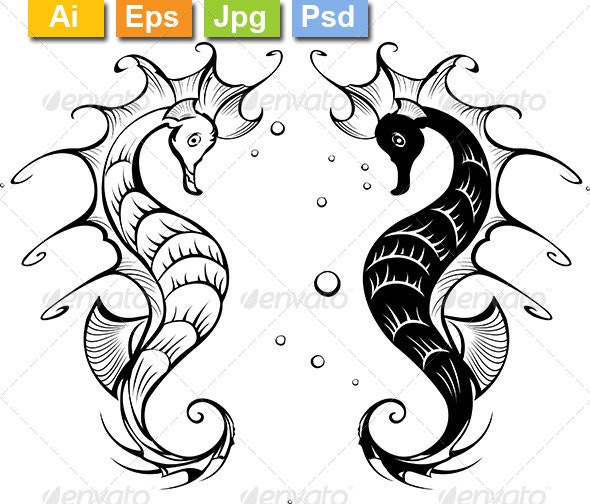 Silhouettes of Seahorses - Tattoos Vectors