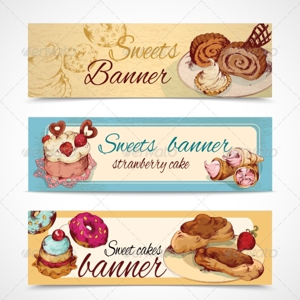 Sweets Colored Banners - Food Objects