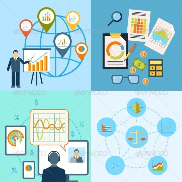 Business Chart Icon Flat Composition