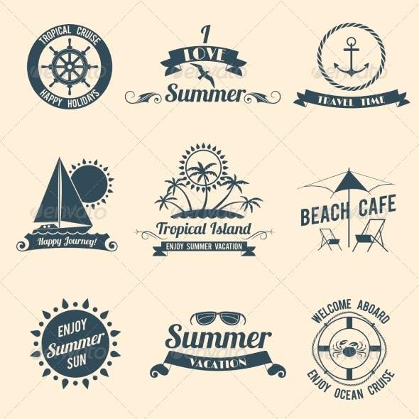 Summer Sea Emblems Black
