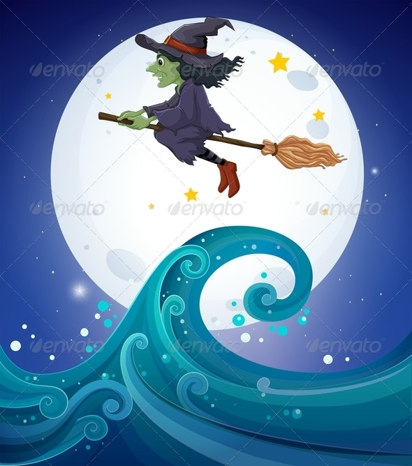 Witch flying above Sea - People Characters