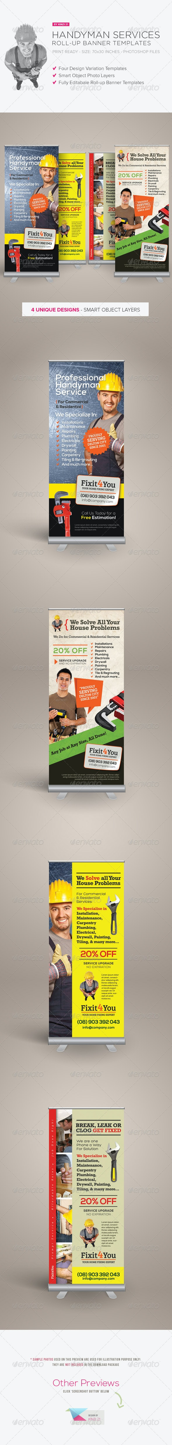 Handyman Services Roll-up Banners - Signage Print Templates