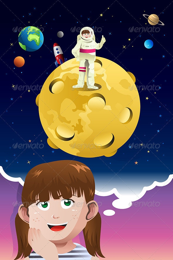 Girl Aspiring to be Astronaut  - People Characters