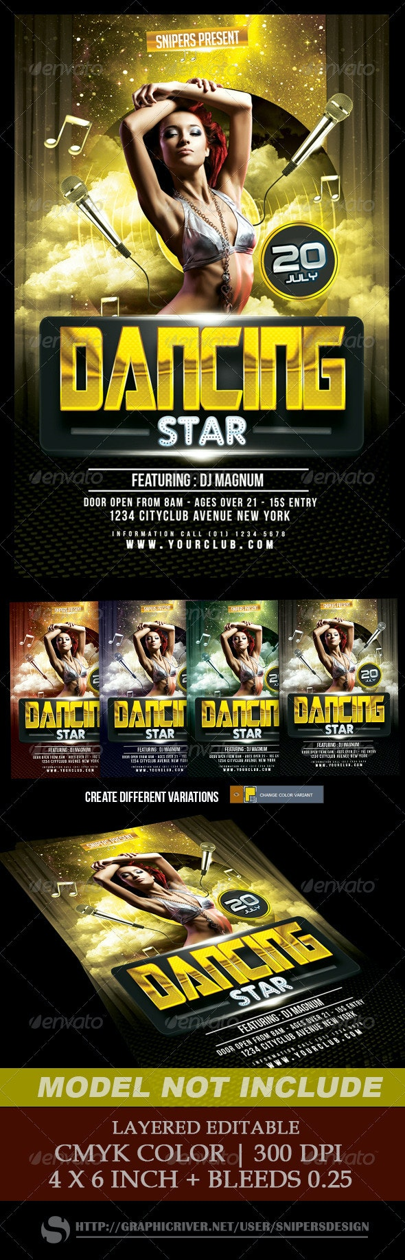 Dancing Star Flyer - Clubs & Parties Events