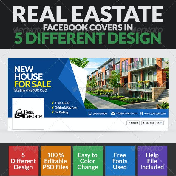 Real Estate Facebook Cover Page - 5 Designs
