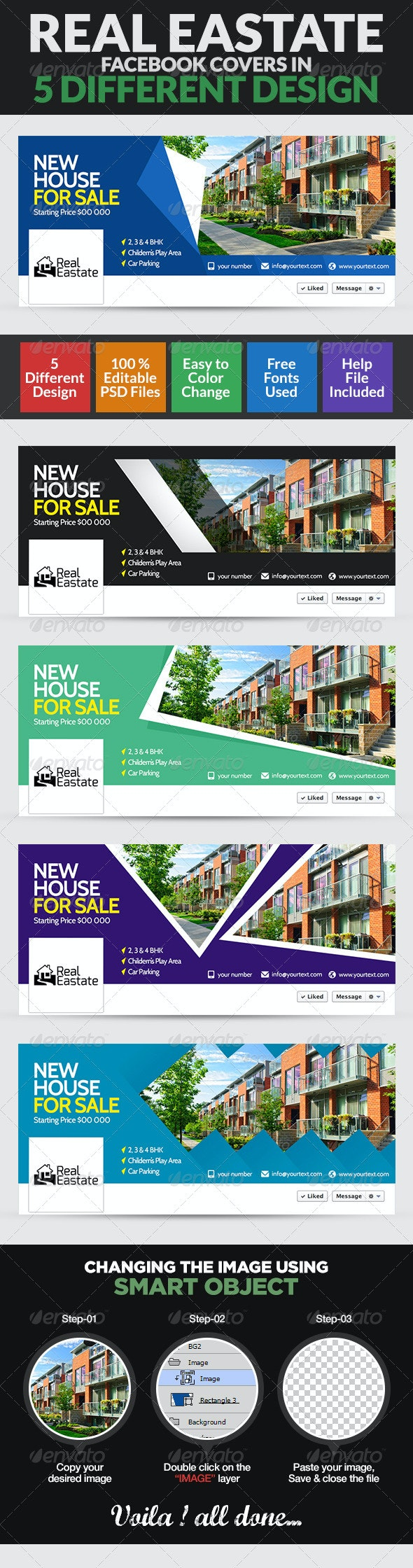 Real Estate Facebook Cover Page - 5 Designs - Facebook Timeline Covers Social Media