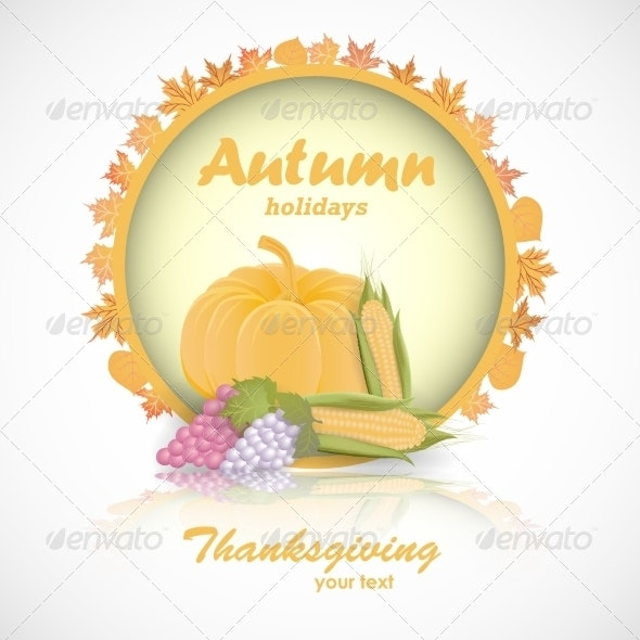 Happy Thanksgiving Day Card  - Decorative Symbols Decorative