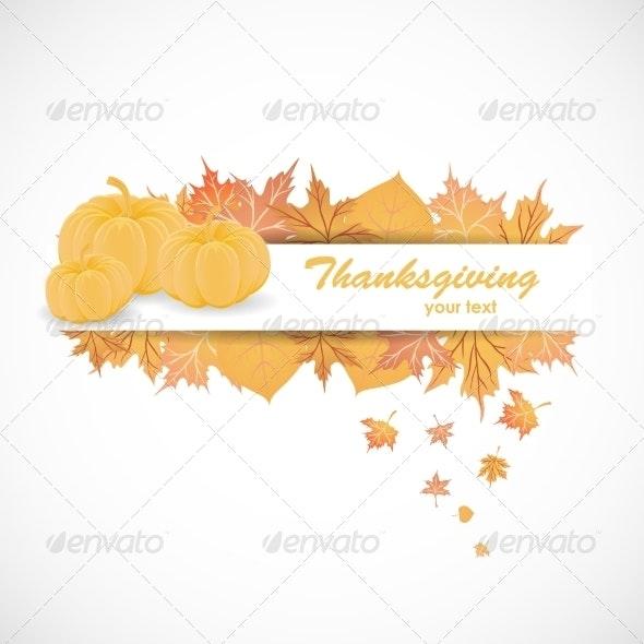 Banner for Thanksgiving Day - Decorative Symbols Decorative