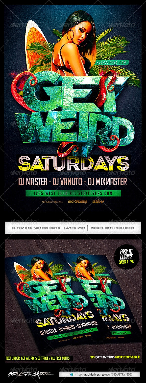 Get Weird Flyer Template PSD - Clubs & Parties Events