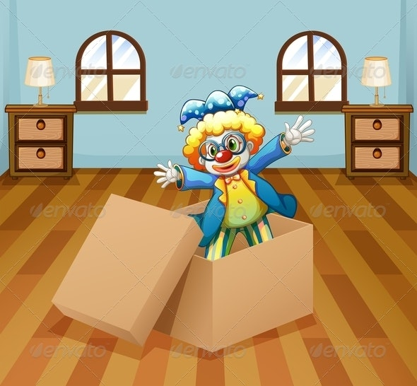 Clown inside a Box - People Characters