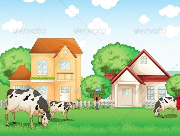 Three Cows Eating in Front of the Neighborhood - Animals Characters