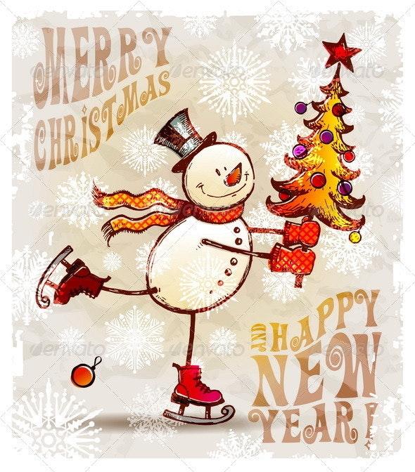 Skating Hand Drawn Snowman With Christmas Tree - Christmas Seasons/Holidays