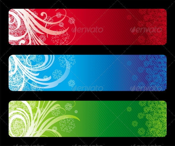 Vector Christmas Decorative Banners - Characters Vectors