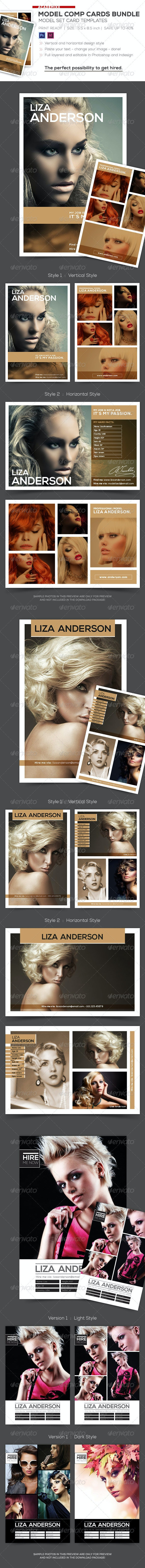 Bundle of Model Comp and Set Card Templates - Flyers Print Templates
