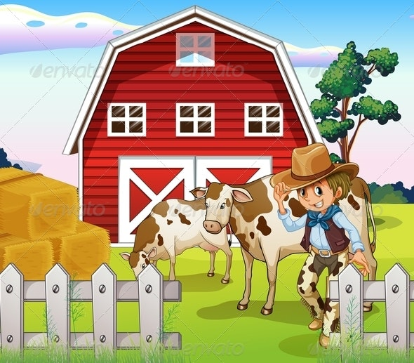 A Cowboy Inside the Farm with Cows and a Barnhouse - People Characters